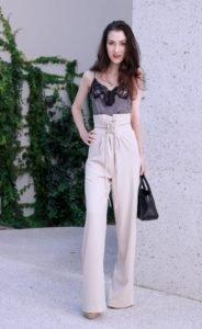 Fashion Blogger Veronika Lipar of Brunette from Wall Street on it pants of the season