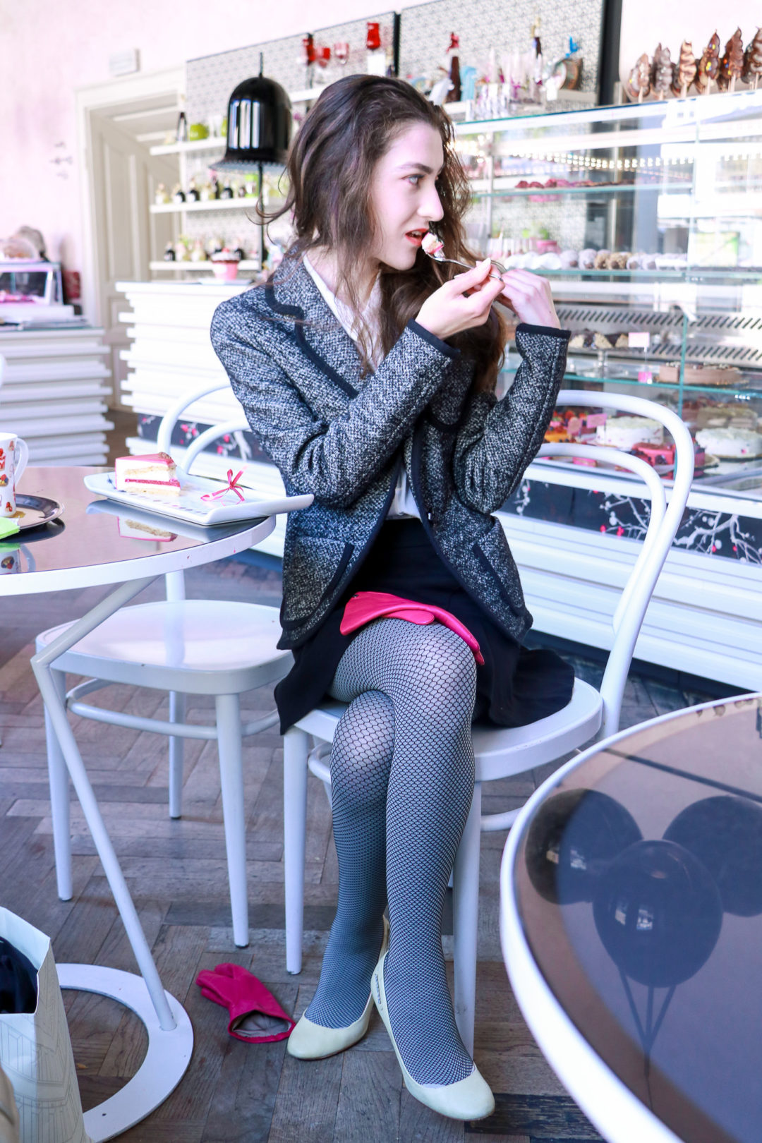 Fashion blogger Veronika Lipar of Brunette From Wall Street sharing 3 Ways to wear the fishnet tights this winter
