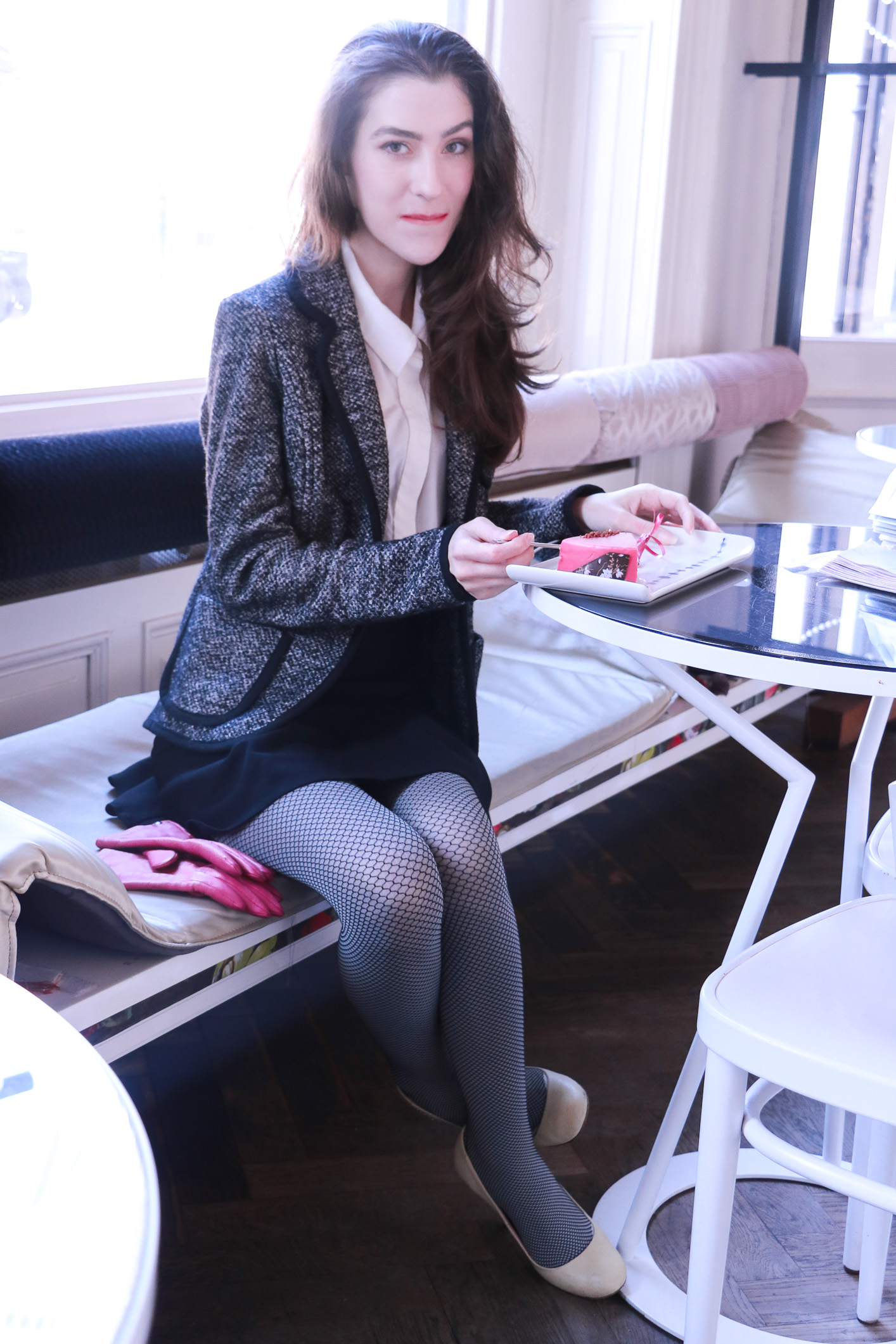 Fashion blogger Veronika Lipar of Brunette From Wall Street sharing 3 Ways to wear the fishnets this winter
