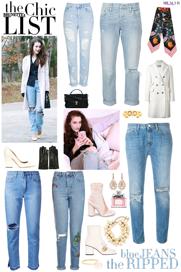Fashion blogger Veronika Lipar of Brunette From Wall Street sharing where to get best luxury blue ripped jeans