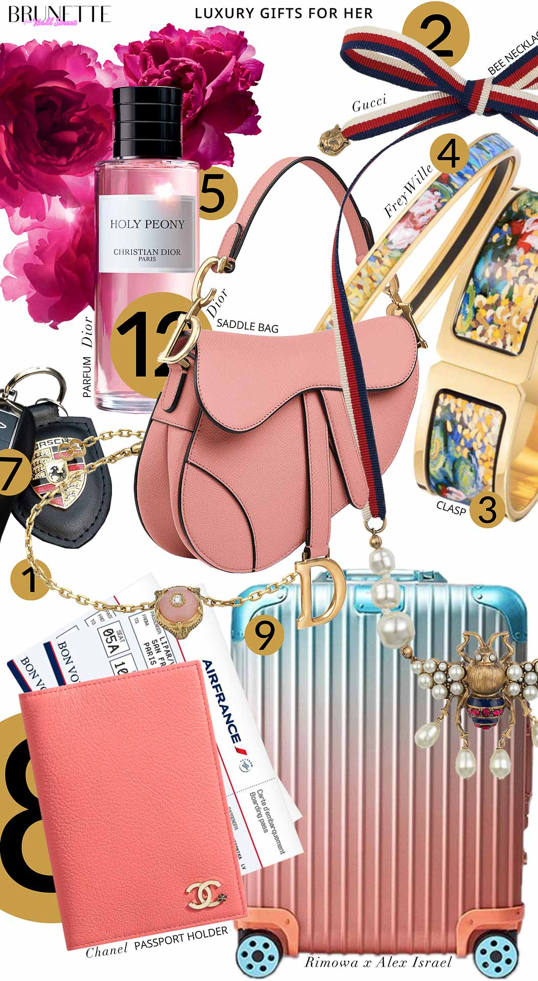 Brunette from Wall Street Luxury gifts for her Rimowa x Alex Israel trunk Chanel passport holder plane tickets to Paris Dior Holly Peony Dior pink saddle bag Gucci Bee necklace Frey Wille bangle clasp