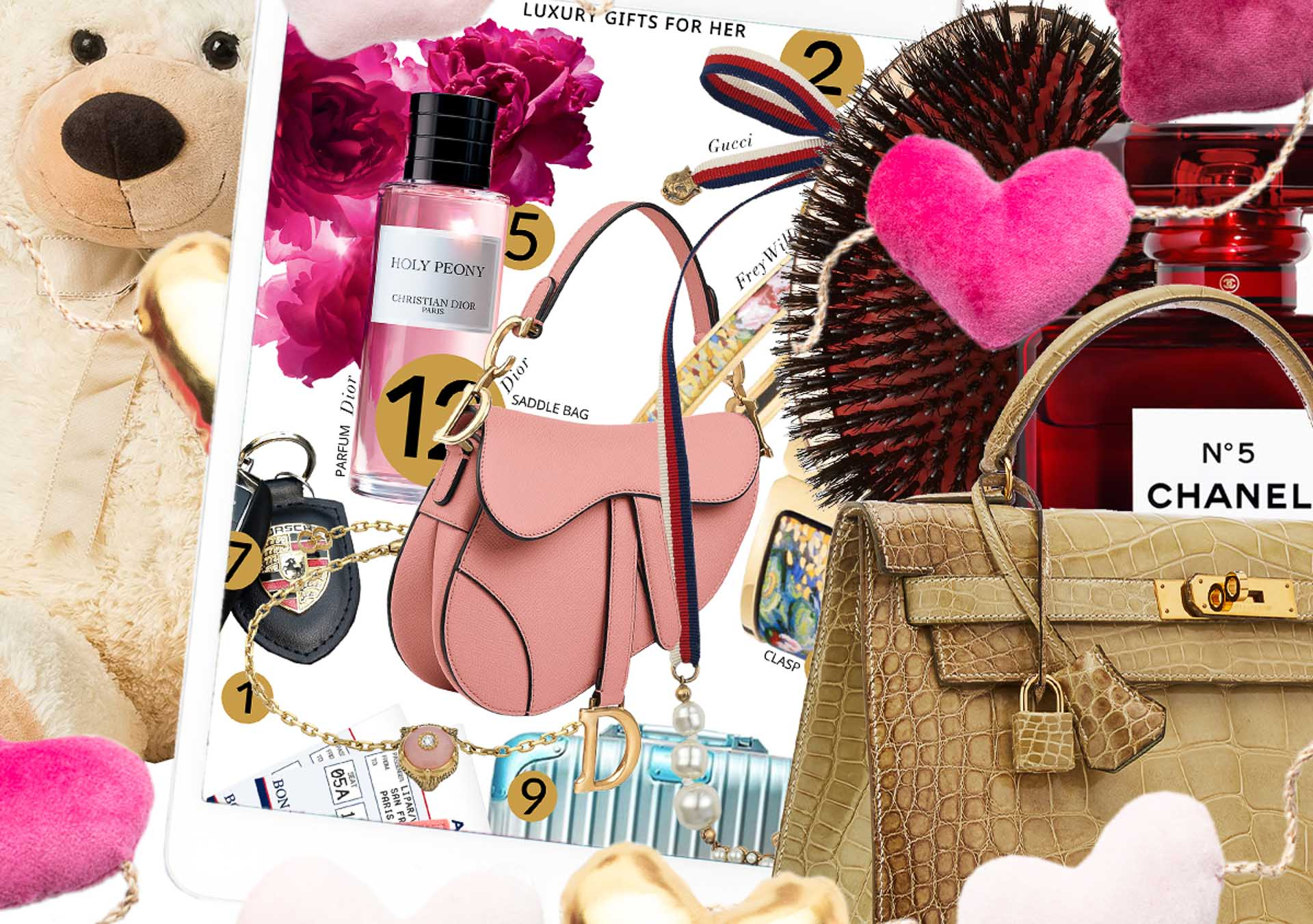 Brunette from Wall Street Luxury gifts for her hermes kelly bag dior saddle handbag teddy bear perfumes