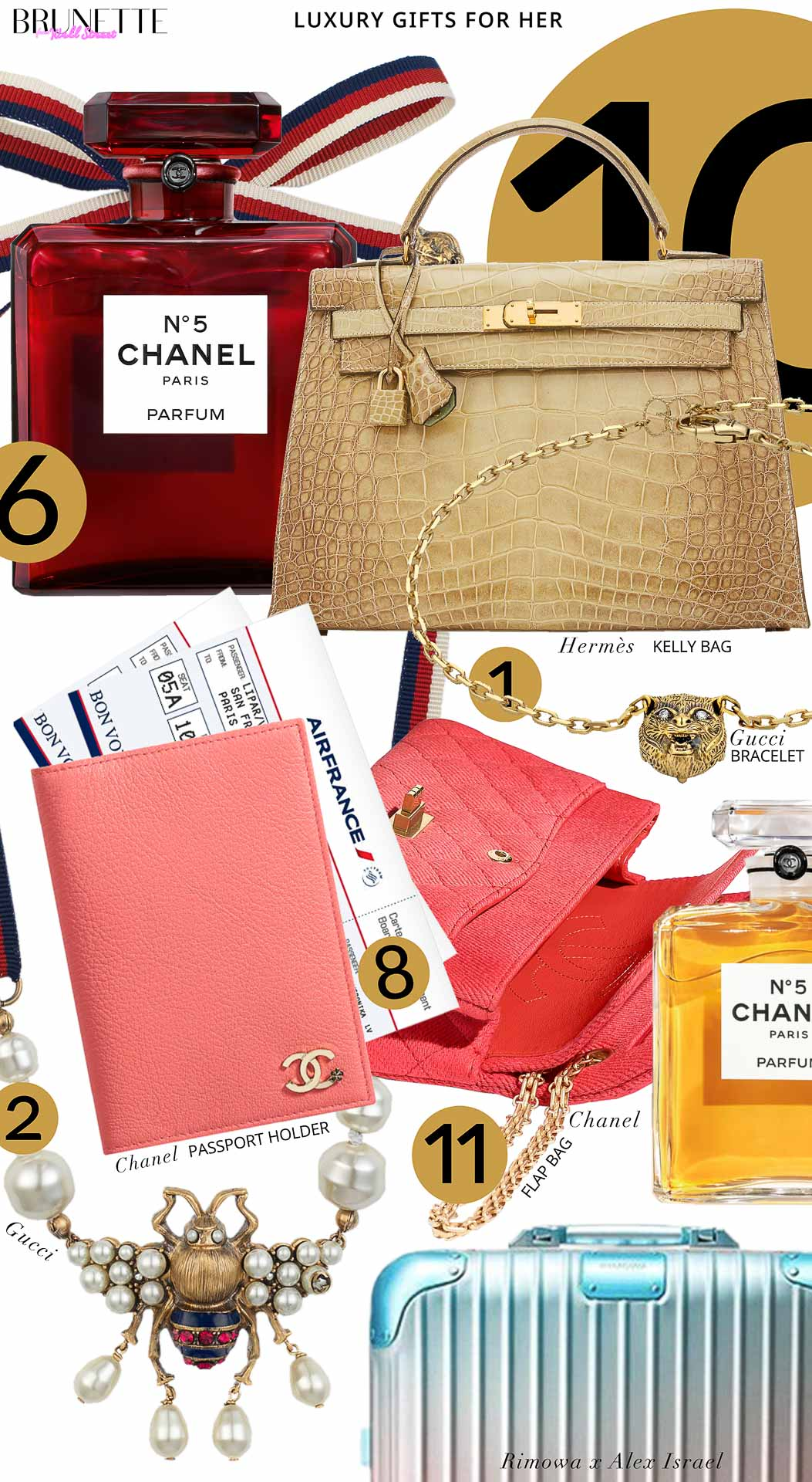Brunette from Wall Street Luxury gifts for her Rimowa x Alex Israel trunk Chanel passport holder plane tickets to Paris Chanel coral flap bag Chanel No5 elexir perfume Hermes Kelly bag neutrals Gucci bee necklace