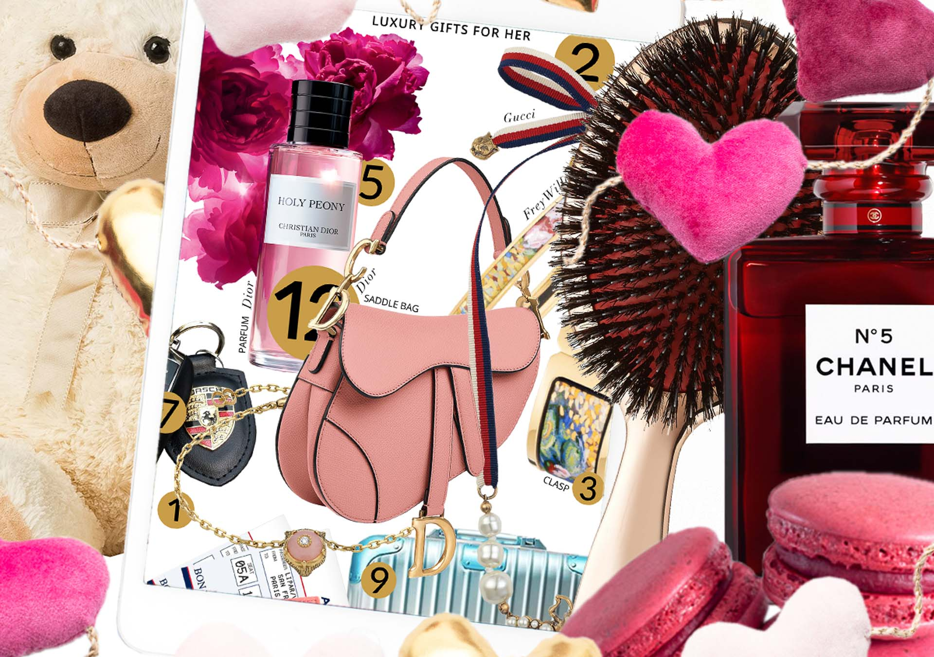 Brunette from Wall Street What to do if you want to make up with her pink hearts macarons Balmain rose gold brush teddy bear Dior saddle bag Dior Holy Peony Rimowa x Alex Israel