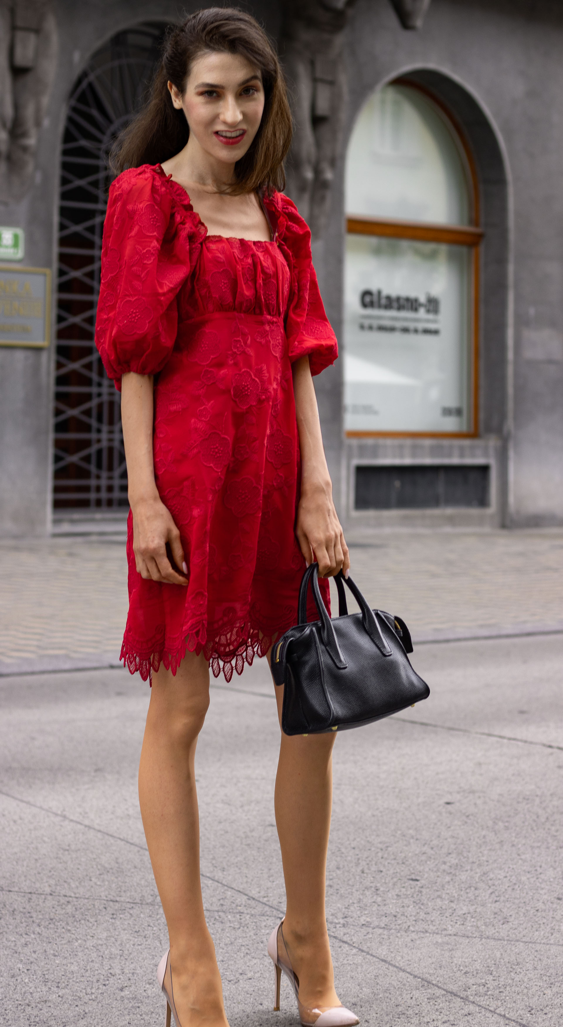 Brunette from Wall Street how to wear red dress plexi pumps for work