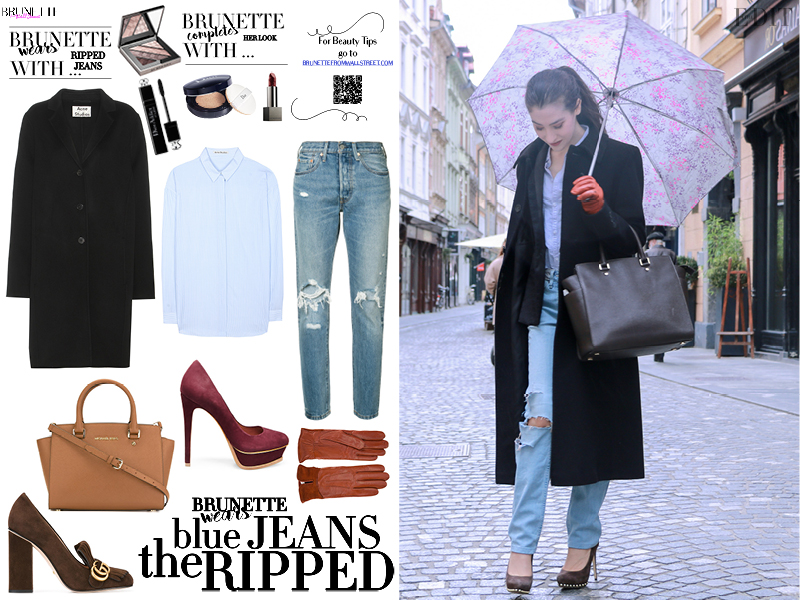 Fashion blogger Veronika Lipar of Brunette From Wall Street sharing how to wear light blue ripped jeans for a chic Style