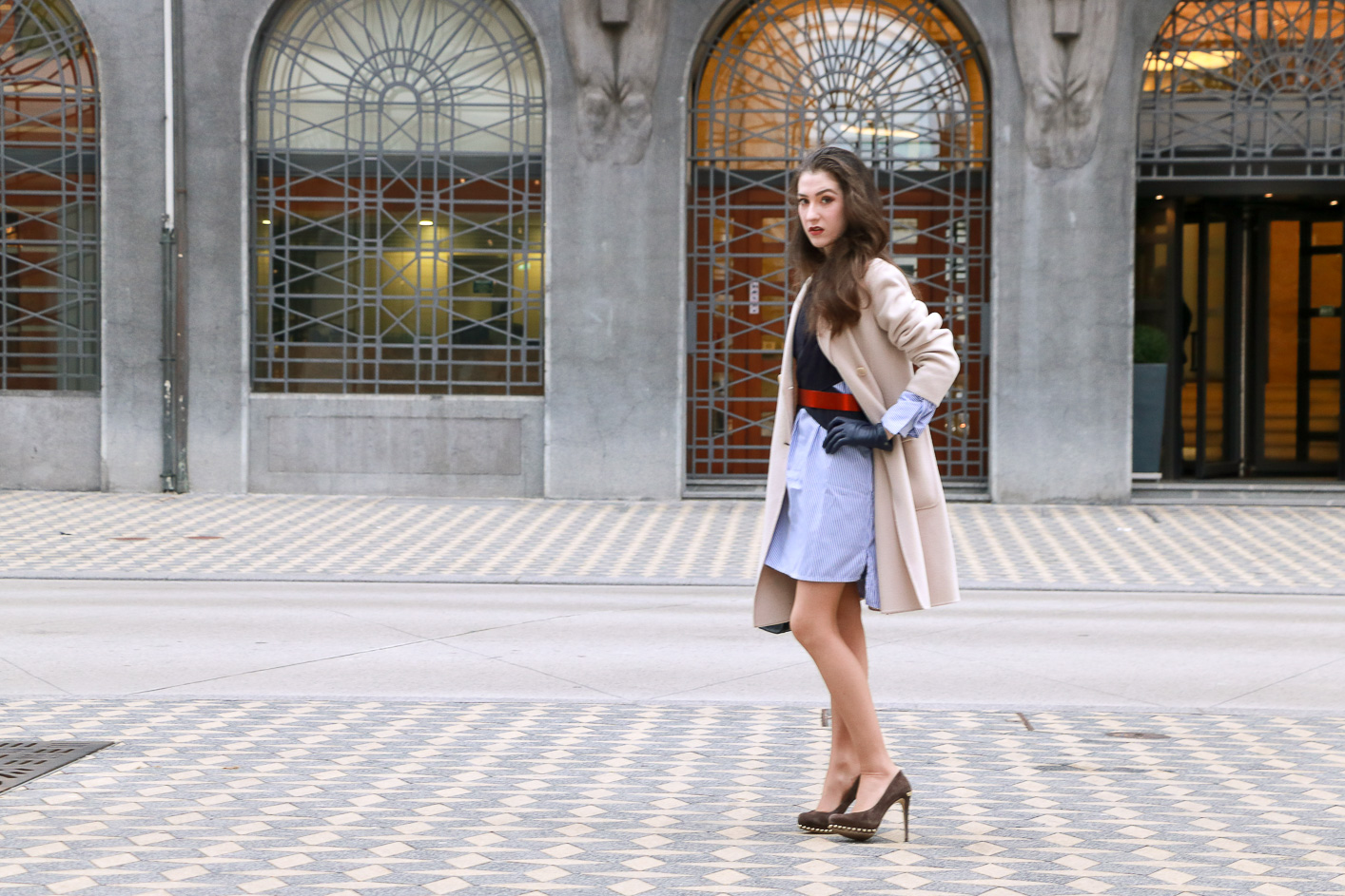 Fashion Blogger Veronika Lipar of Brunette from Wall Street sharing how to wear your boyfriend's shirt and wear it as a shirt dress