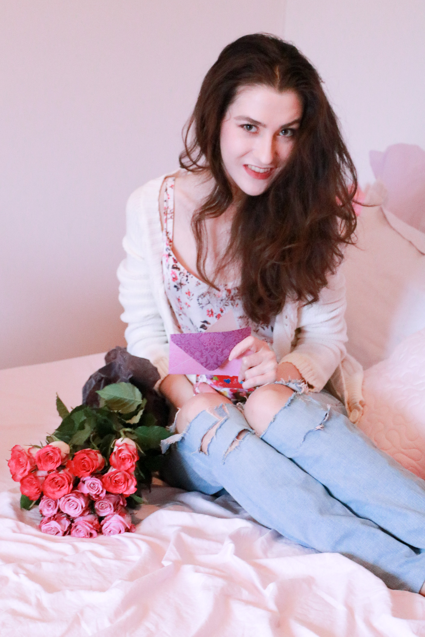 Fashion blogger Veronika Lipar of Brunette From Wall Street sharing ideas for the most romantic Valentine's Day Date