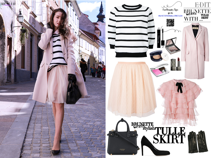 Fashion blogger Veronika Lipar of Brunette From Wall Street sharing how to wear tulle midi skirt