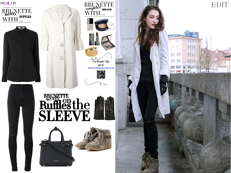 Fashion blogger Veronika Lipar of Brunette From Wall Street on how to wear ruffled sleeves to look chic not girly