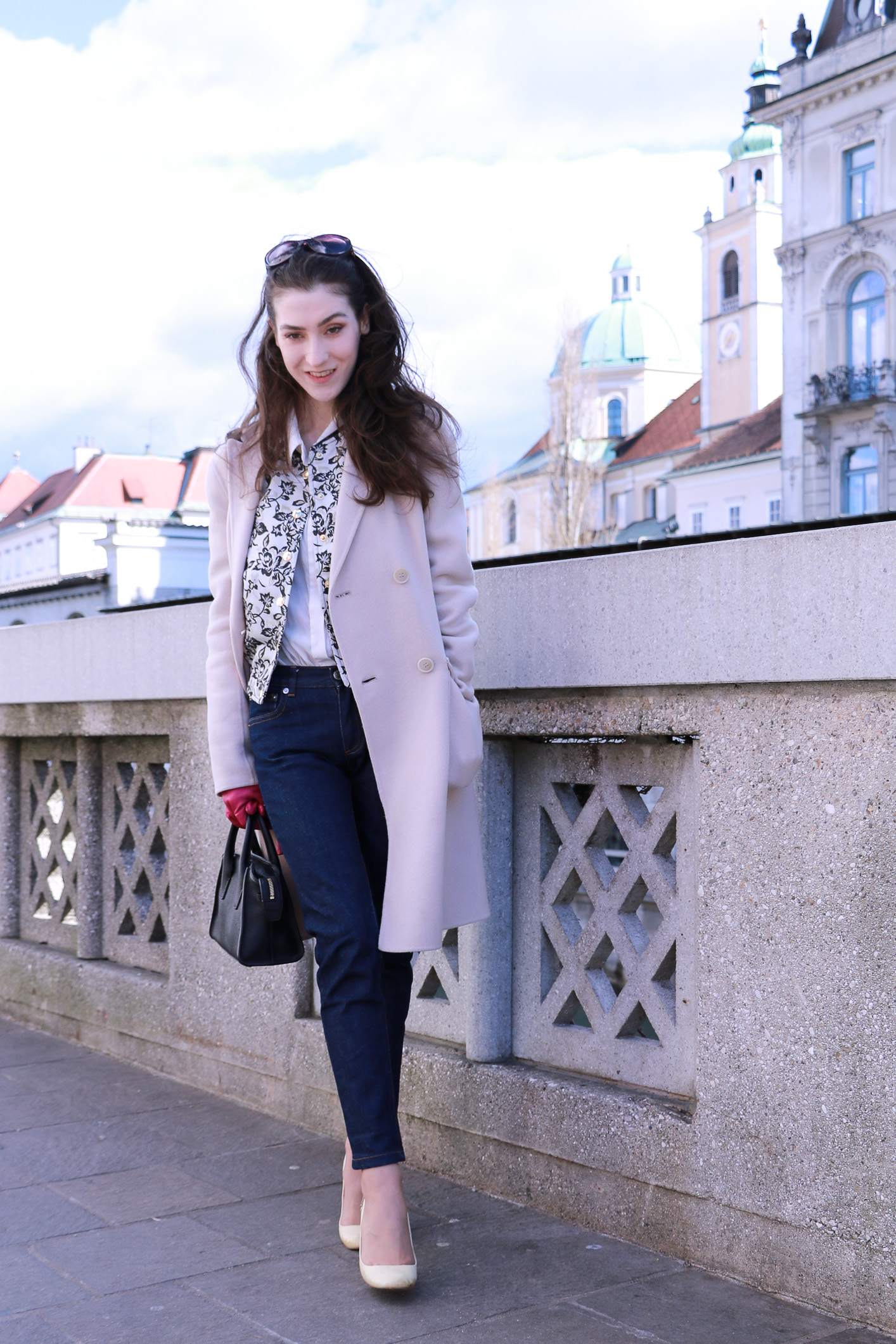 Fashion blogger Veronika Lipar of Brunette From Wall Street on how to wear bomber jacket this spring