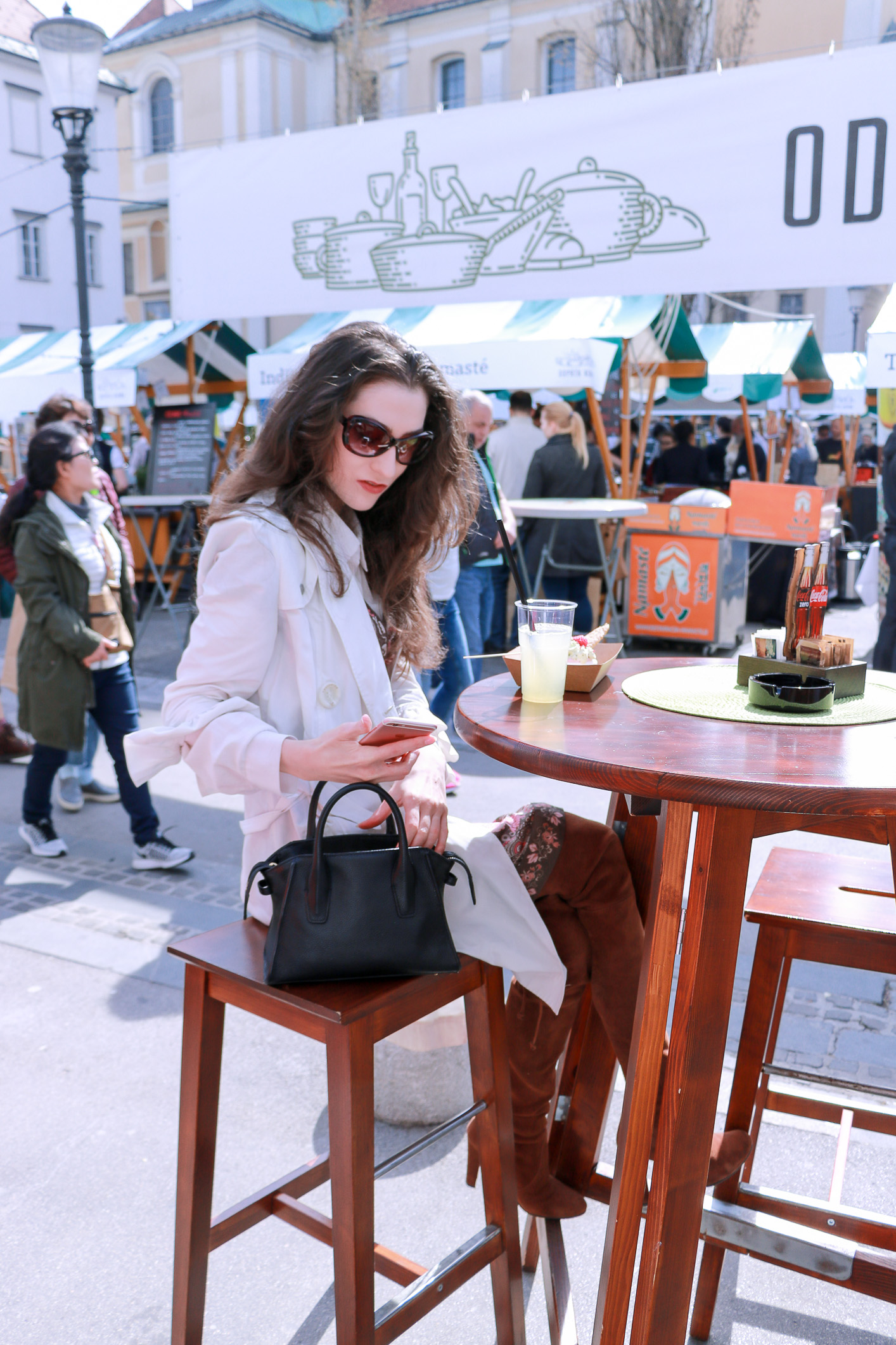 Fashion blogger Veronika Lipar of Brunette From Wall Street wearing over the knee boots at the Open Kitchen Odprta Kuhna food festival in her Short Fashion Story