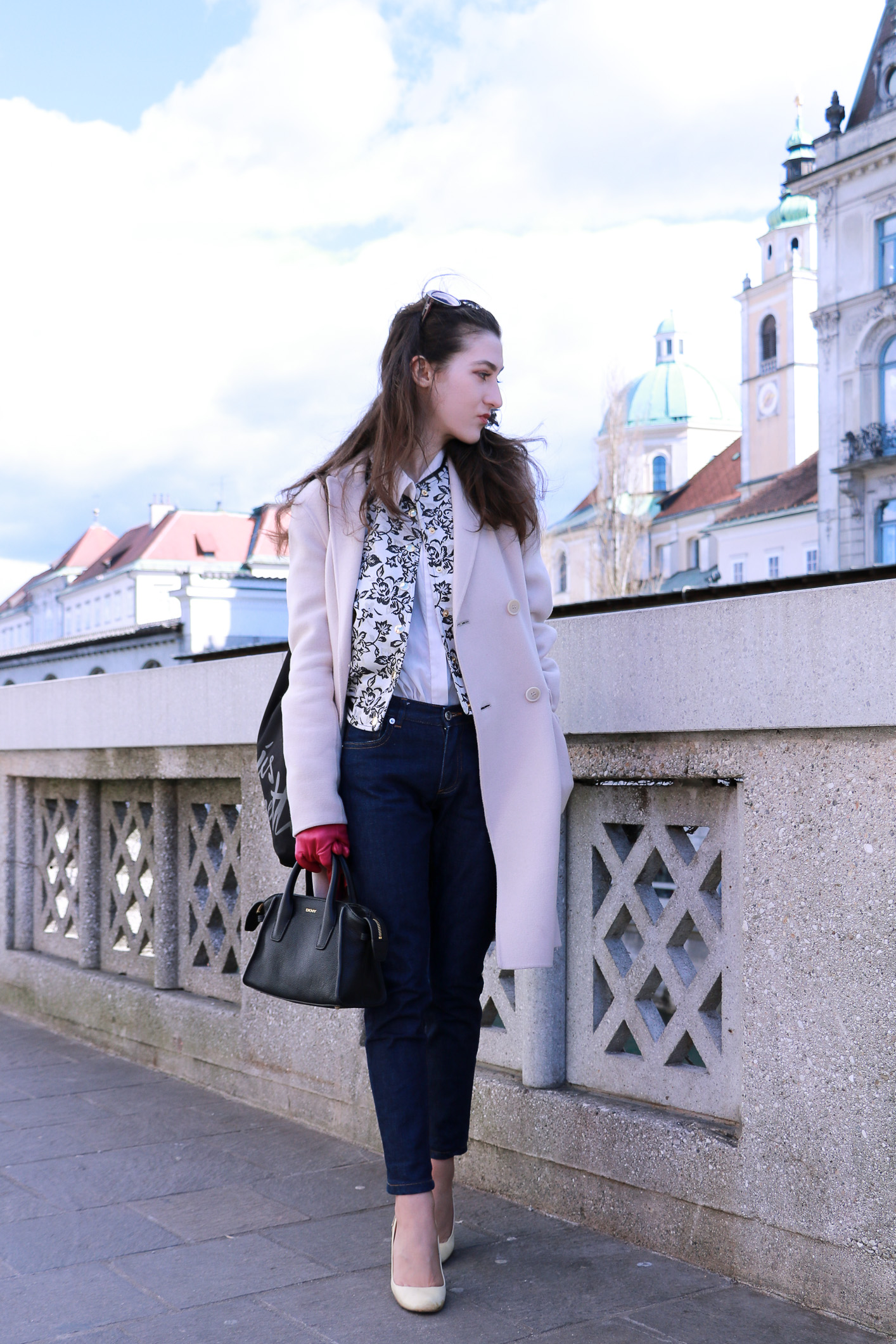 Fashion blogger Veronika Lipar of Brunette From Wall Street sharing how to style white shoes this spring