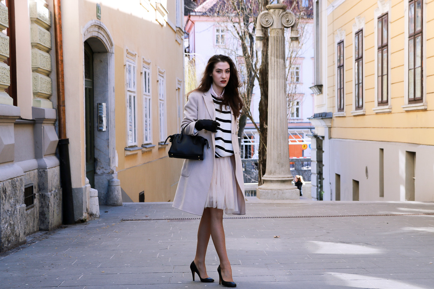 Fashion blogger Veronika Lipar of Brunette From Wall Street on how to wear a tutu skirt this spring in Ljubljana