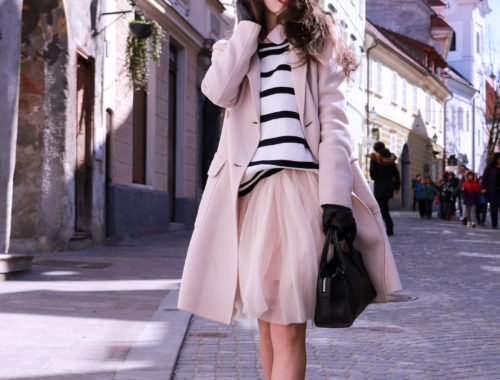 Fashion blogger Veronika Lipar of Brunette From Wall Street sharing #4 ways to style tulle midi skirt