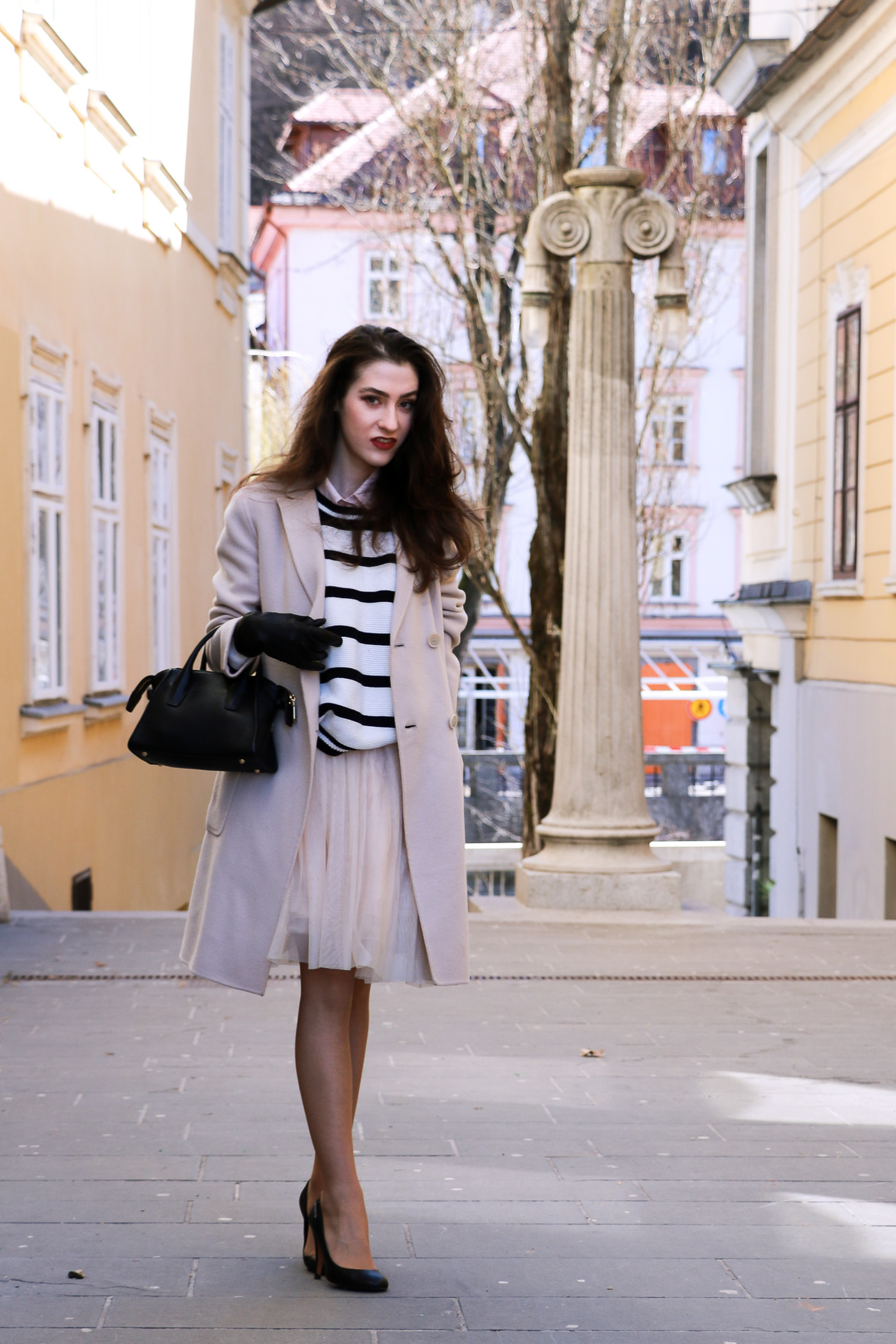 Fashion blogger Veronika Lipar of Brunette From Wall Street sharing her princess spring look
