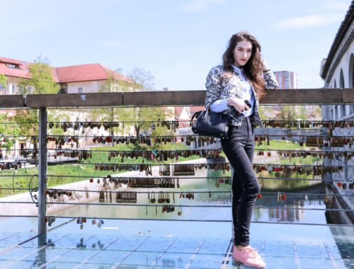Fashion blogger Veronika Lipar of Brunette From Wall Street sharing how to style pale pink sneakers