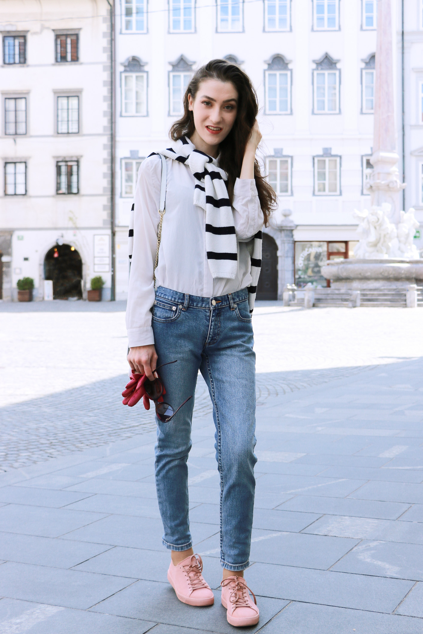 Fashion blogger Veronika Lipar of Brunette From Wall Street sharing her casual chic weekend style to wear this spring