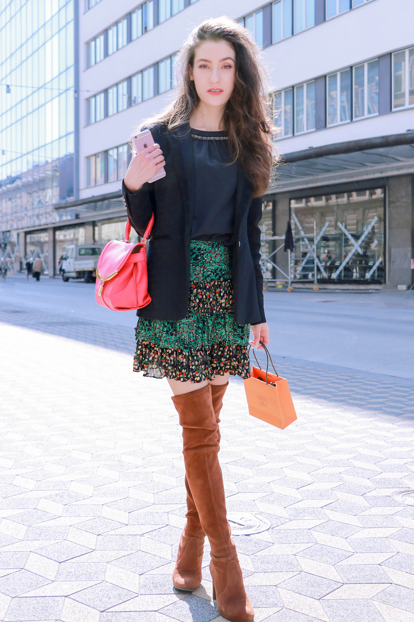 Fashion blogger Veronika Lipar of Brunette From Wall Street sharing how to style OTK boots and chic boho skirt in spring