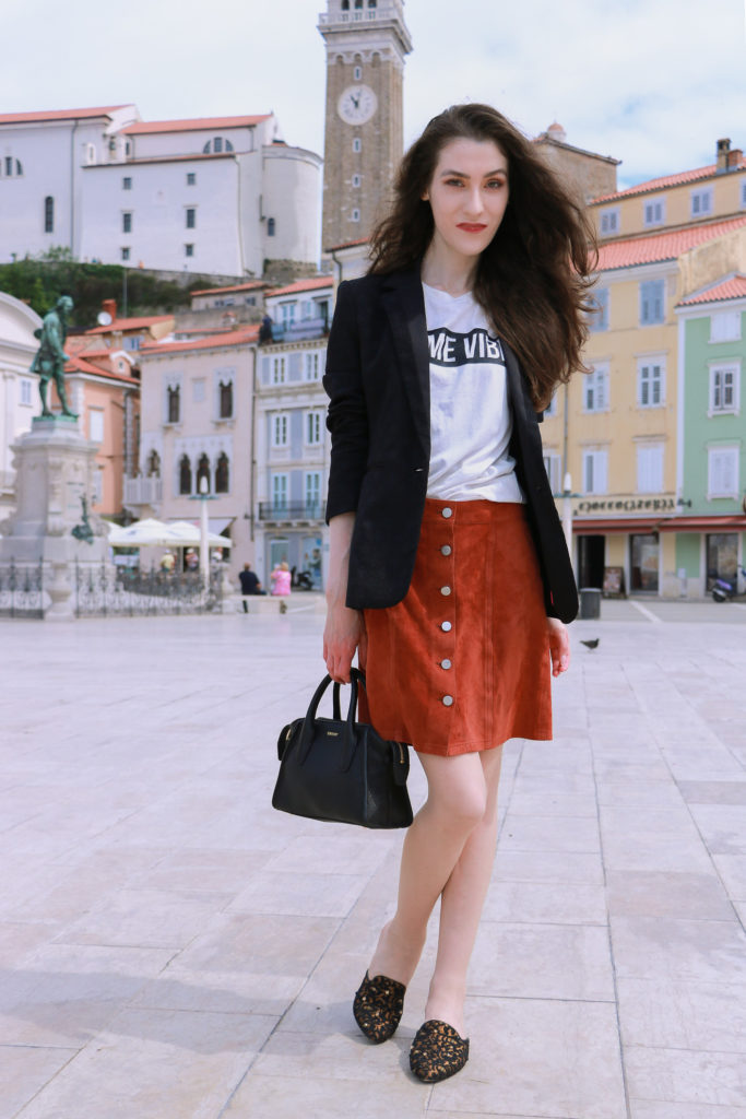 Fashion blogger Veronika Lipar of Brunette From Wall Street at the Tartini Square
