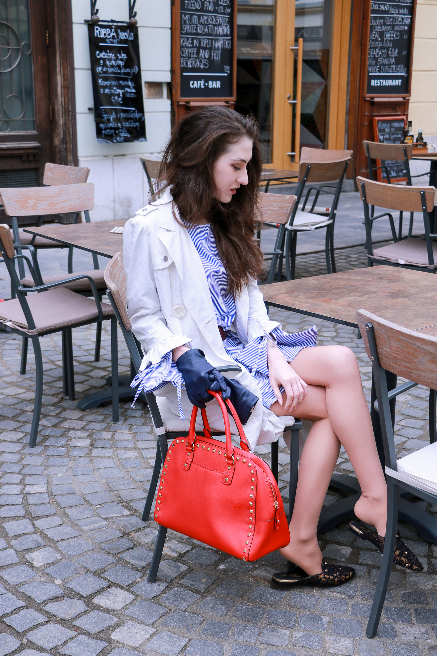 Fashion blogger Veronika Lipar of Brunette From Wall Street sharing what to wear to date with girlfriends this spring