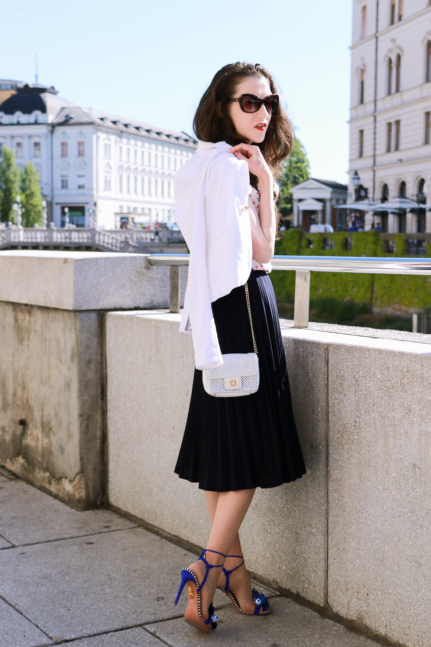 Fashion blogger Veronika Lipar of Brunette From Wall Street on borrowing the vintage midi plissé skirt from her mother