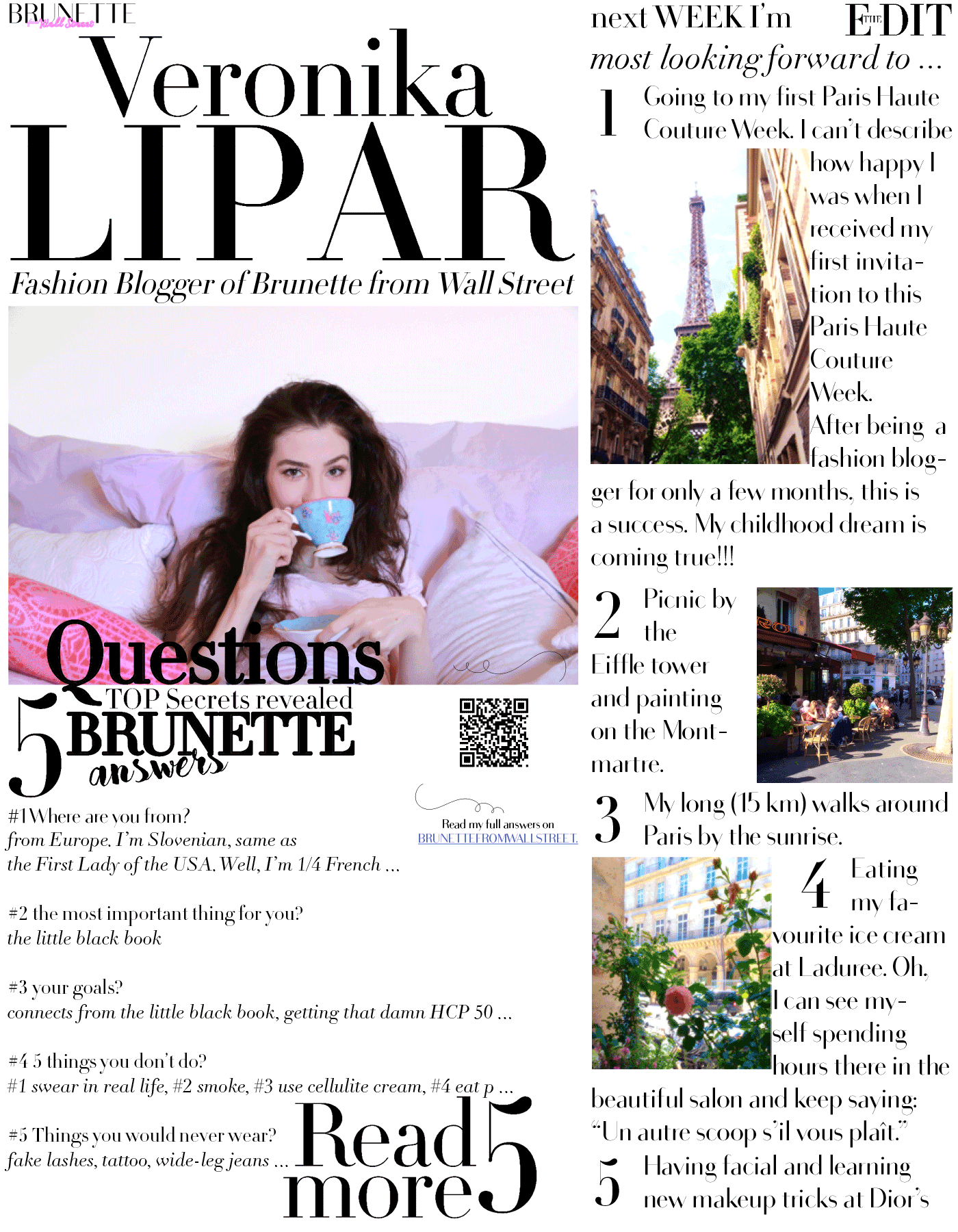 Fashion blogger Veronika Lipar of Brunette From Wall Street answering 5 questions about her and sharing things she is looking forward most during the Paris Haute Couture Week