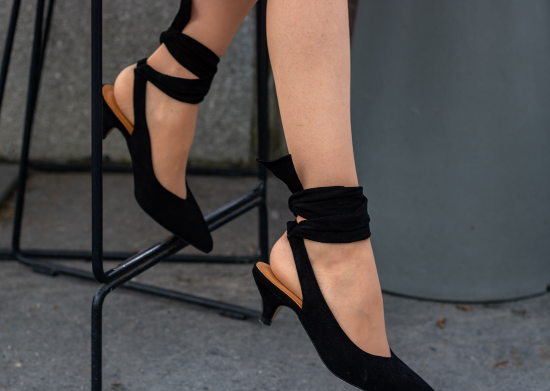 Beautiful Fashion Blogger Veronika Lipar of Brunette from Wall Street wearing Ganni Sabine pumps for after work party