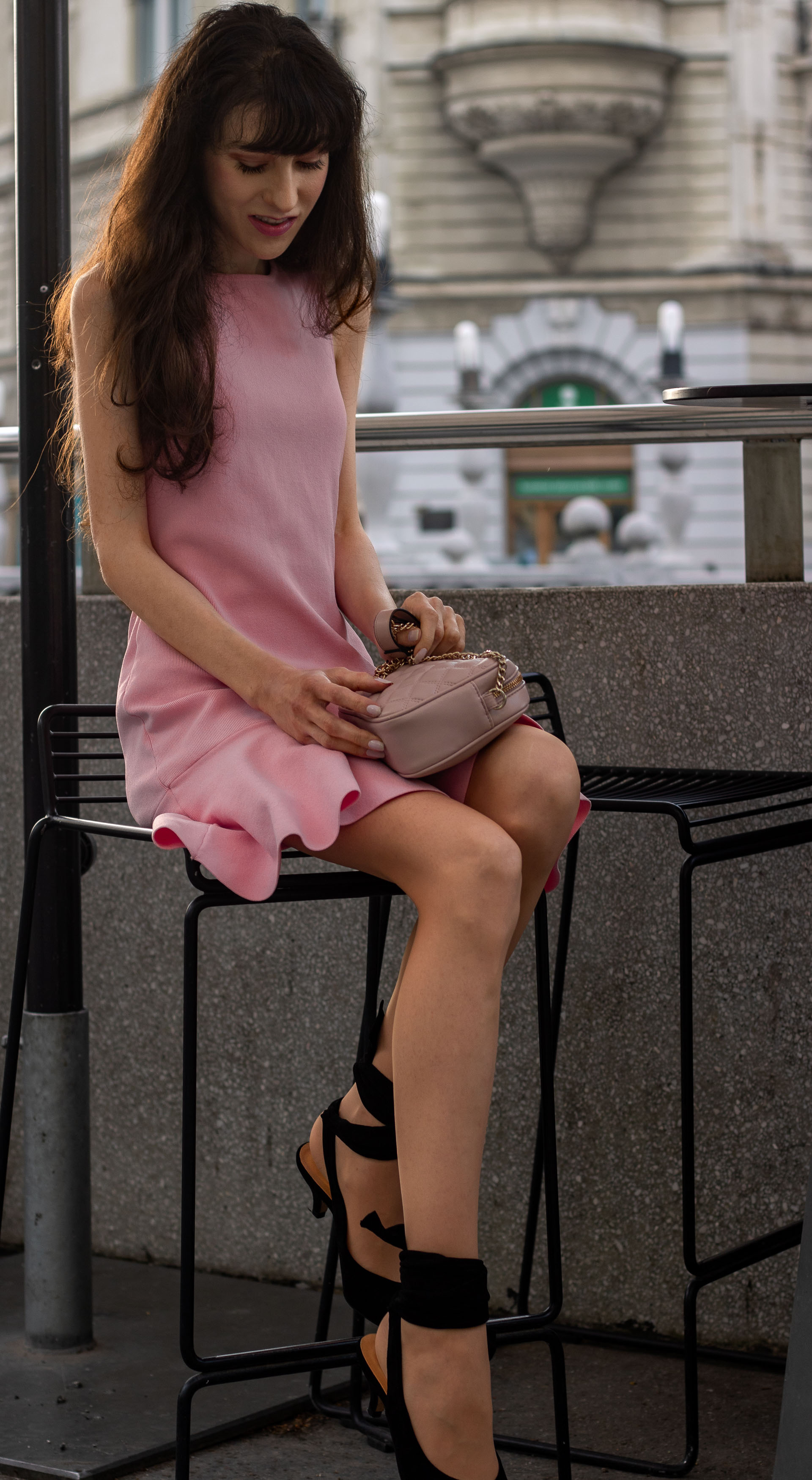 Beautiful Fashion Blogger Veronika Lipar of Brunette from Wall Street wearing peachy pink Superdown cocktail dress Ganni Sabine pumps for after work party