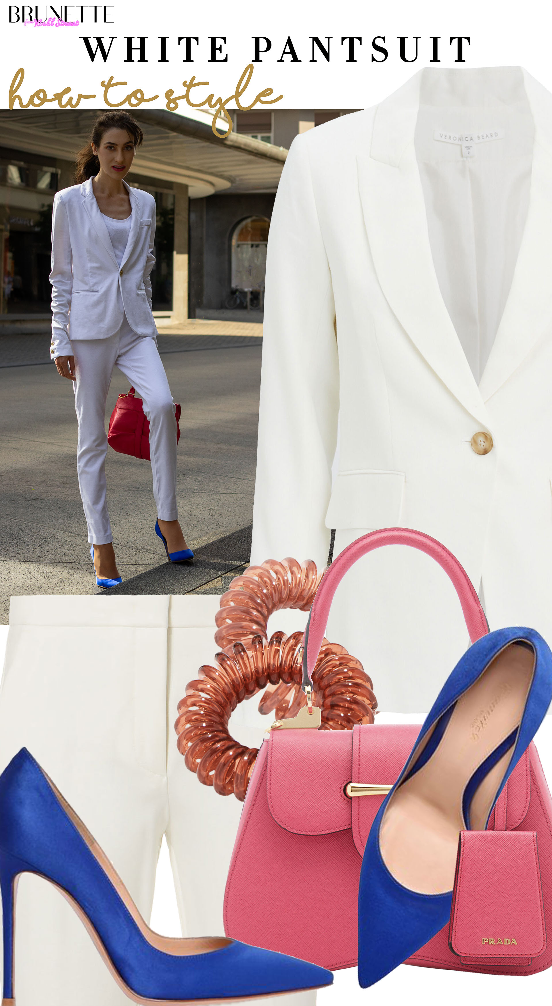 Brunette from Wall Street how to style white pantsuit blue gianvito rossi pumps prada sidonie saffiano bag