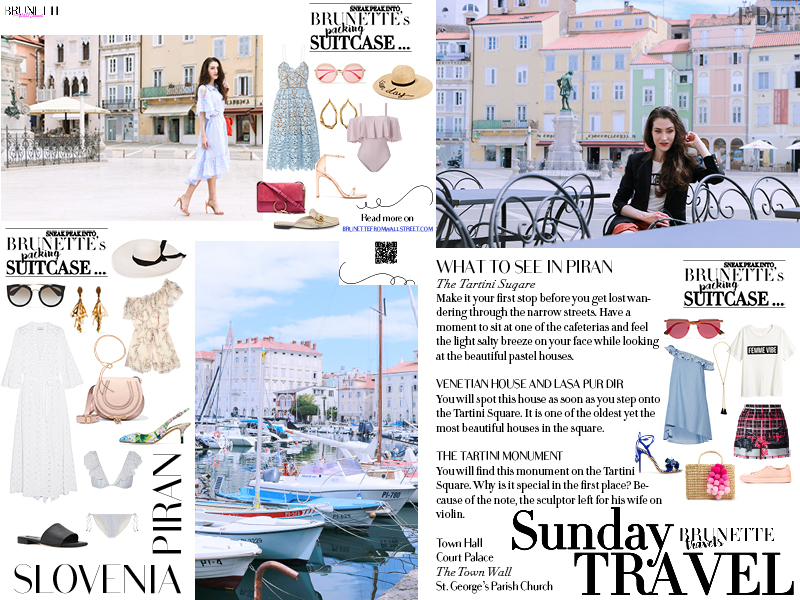 Fashion blogger Veronika Lipar of Brunette From Wall Street on her Sunday trip to Piran Slovenia