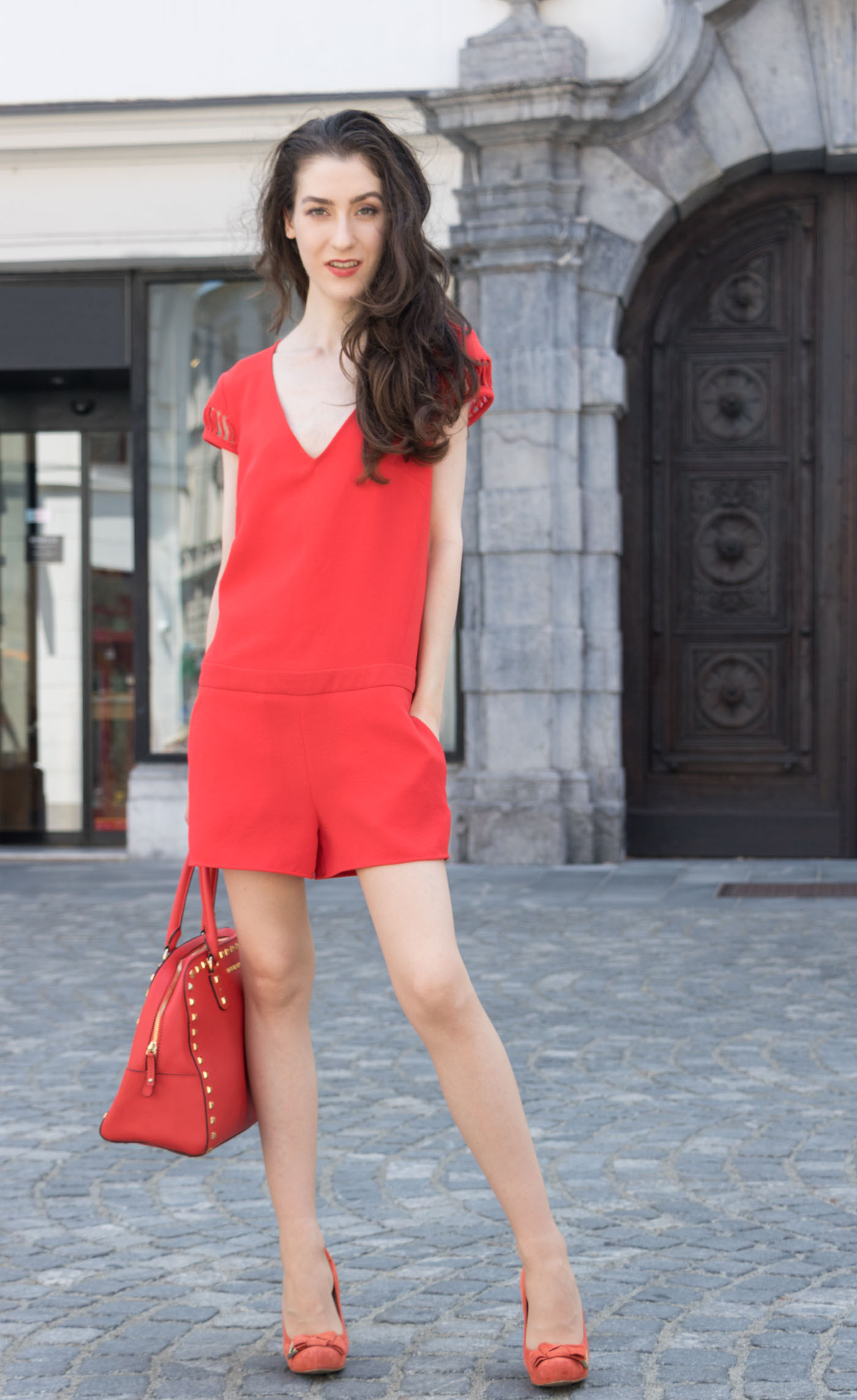 Fashion Blogger Veronika Lipar of Brunette from Wall Street on how to wear head to toe red outfit