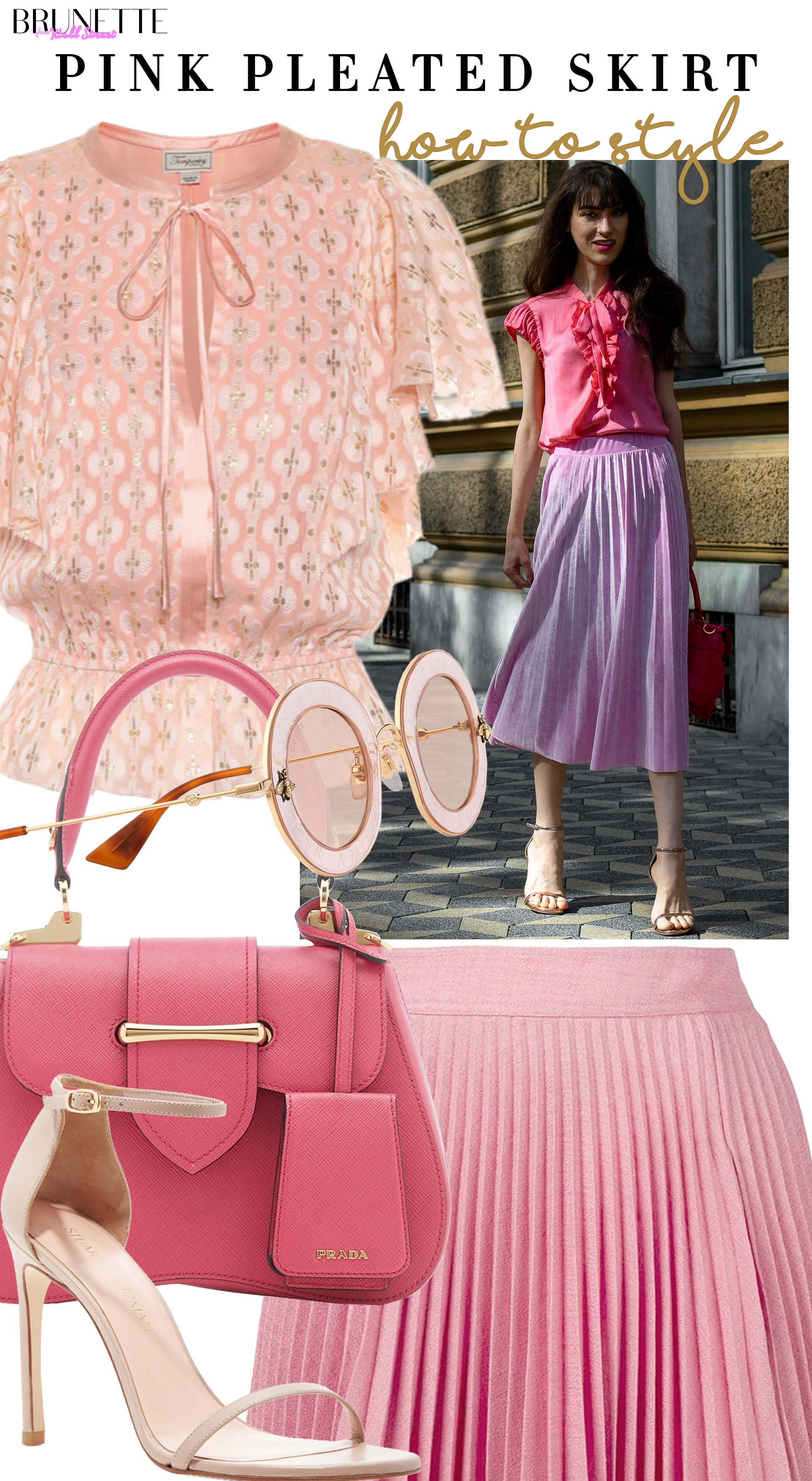Brunette from Wall Street Veronika Lipar how to syle pink pleate