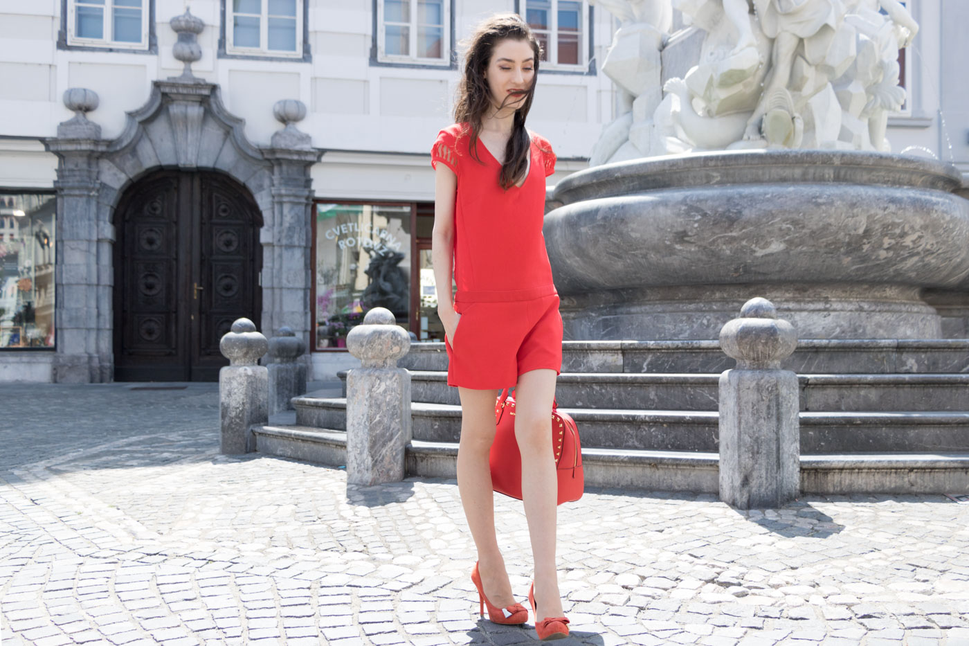 Fashion Blogger Veronika Lipar of Brunette from Wall Street on how to wear red to toe outfit
