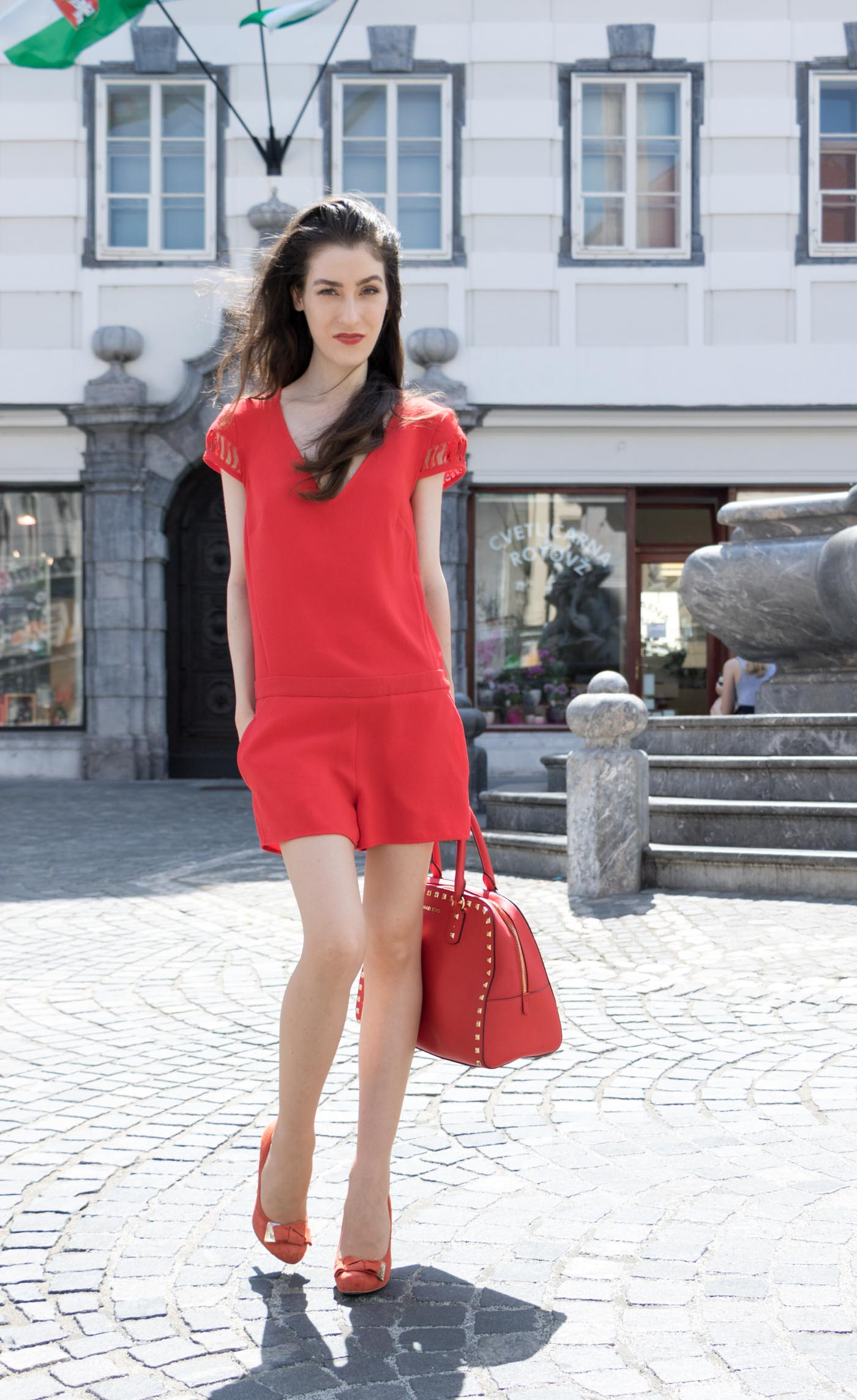 Red Outfit Head To Toe Streetstyle 3 Brunette From Wall Street