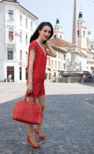 Fashion Blogger Veronika Lipar of Brunette from Wall Street wearing head to toe red outfit