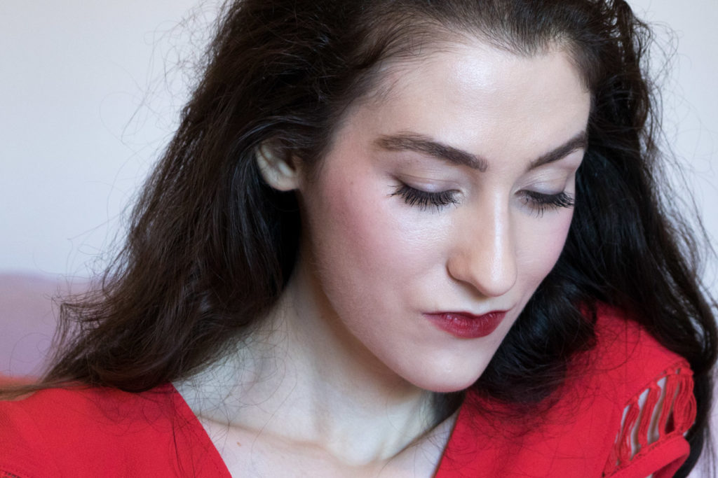 Fashion Blogger Veronika Lipar of Brunette from Wall Street on what makeup to wear with the red outfit