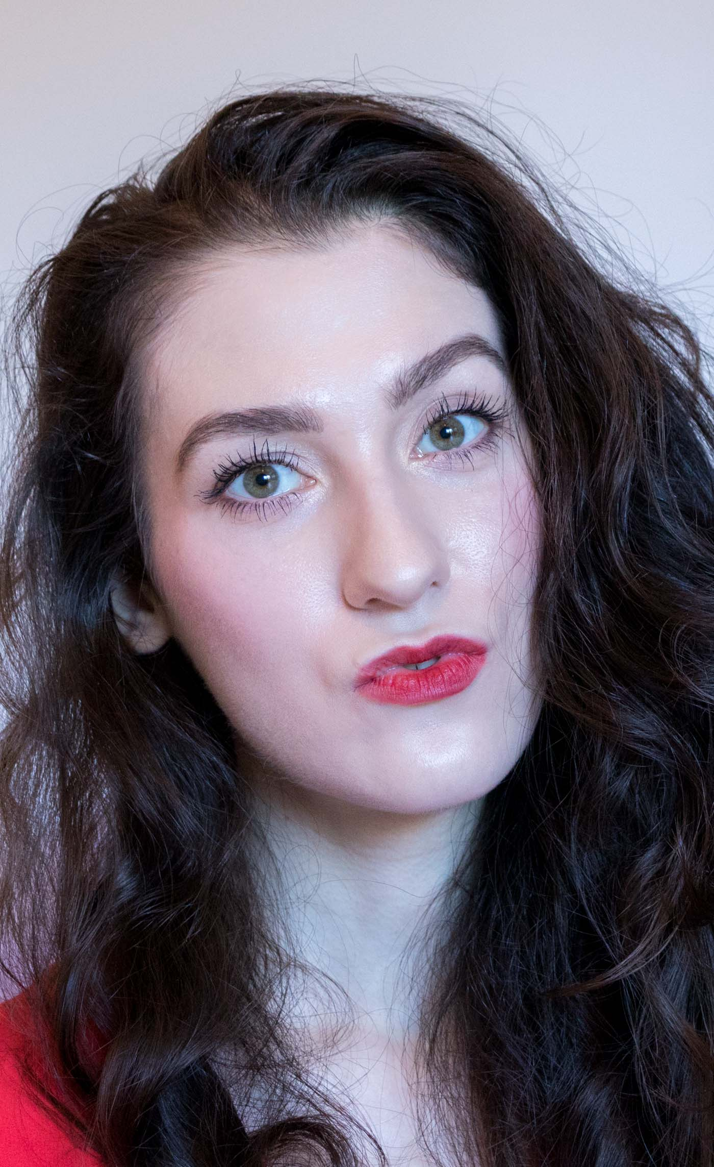 Fashion Blogger Veronika Lipar of Brunette from Wall Street wearing red ombre lips