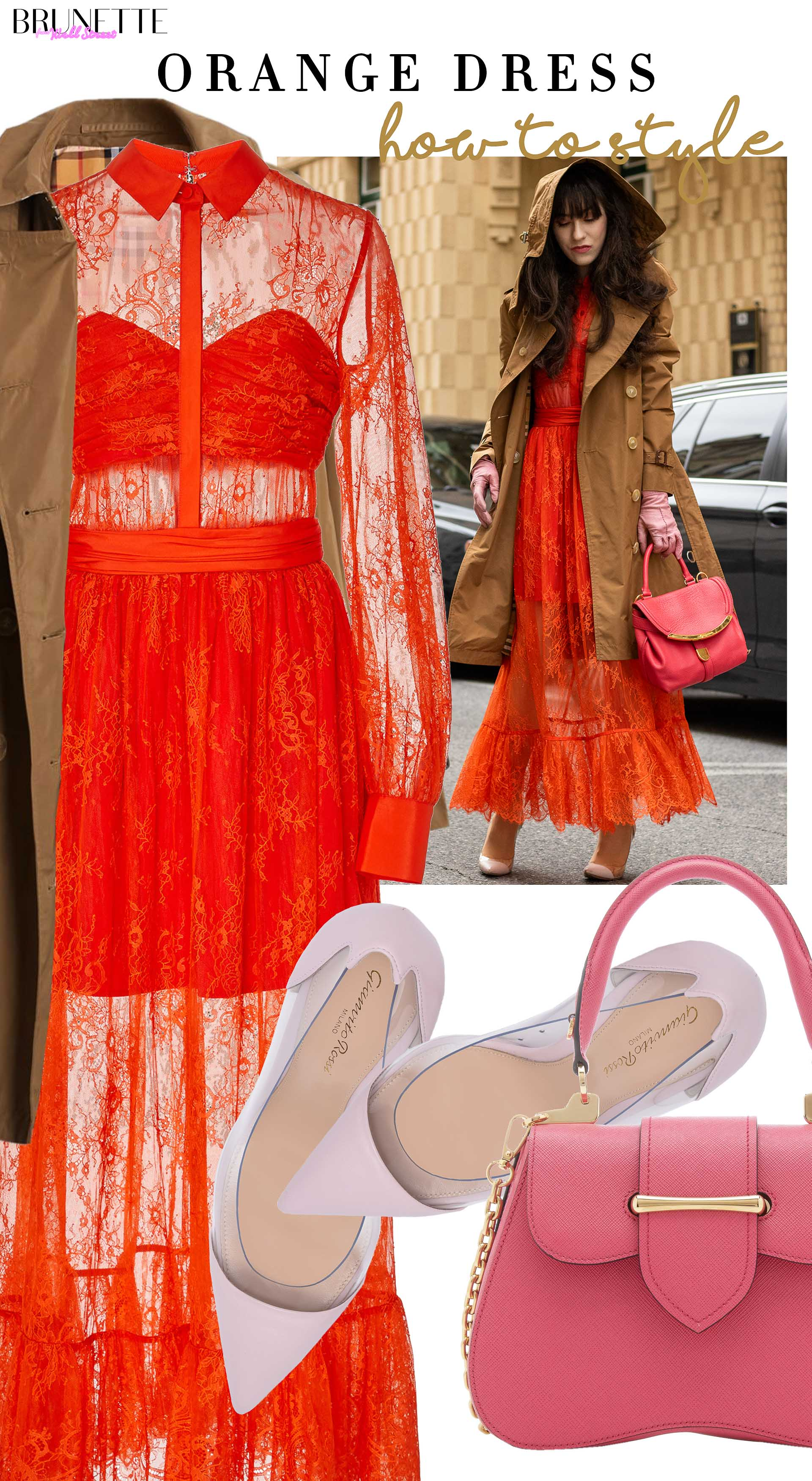 Brunette from Wall Street how to style Self Portrait orange dress Burberry trench coat Gianvito Rossi pumps Prada bag for date in rain