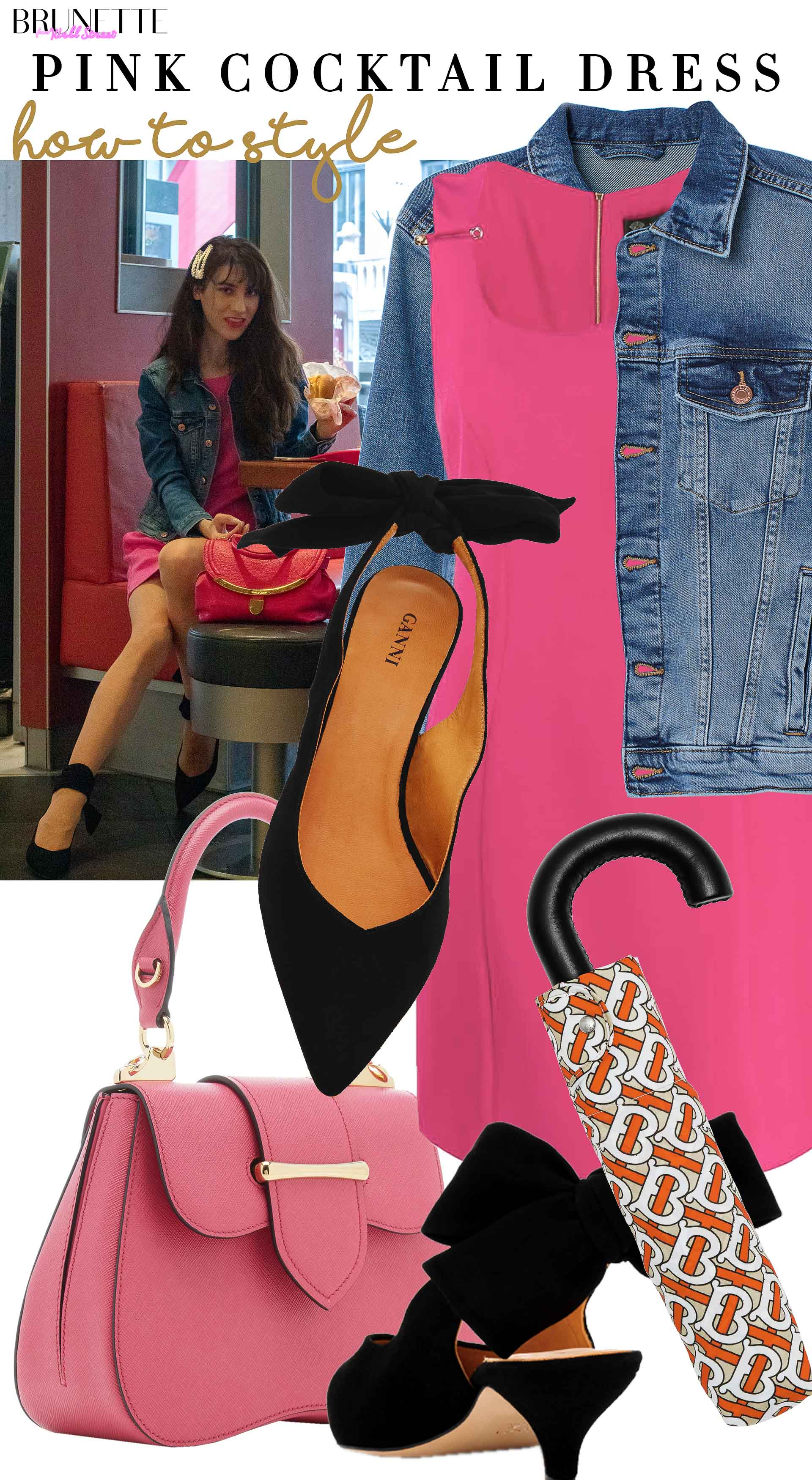 Brunette from Wall Street how to style denim jacket Ganni slingbacks pink cocktail dress prada bag for date in the rain