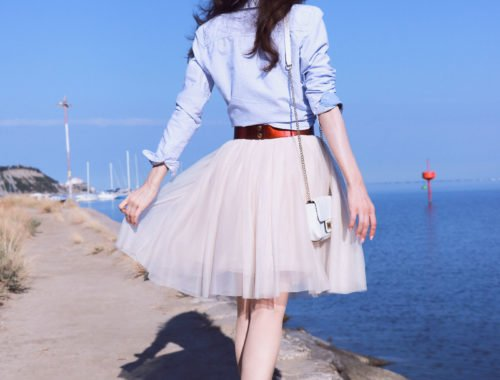 Fashion Blogger Veronika Lipar of Brunette from Wall Street on how to style sheer tulle skirt for the last summer weeks