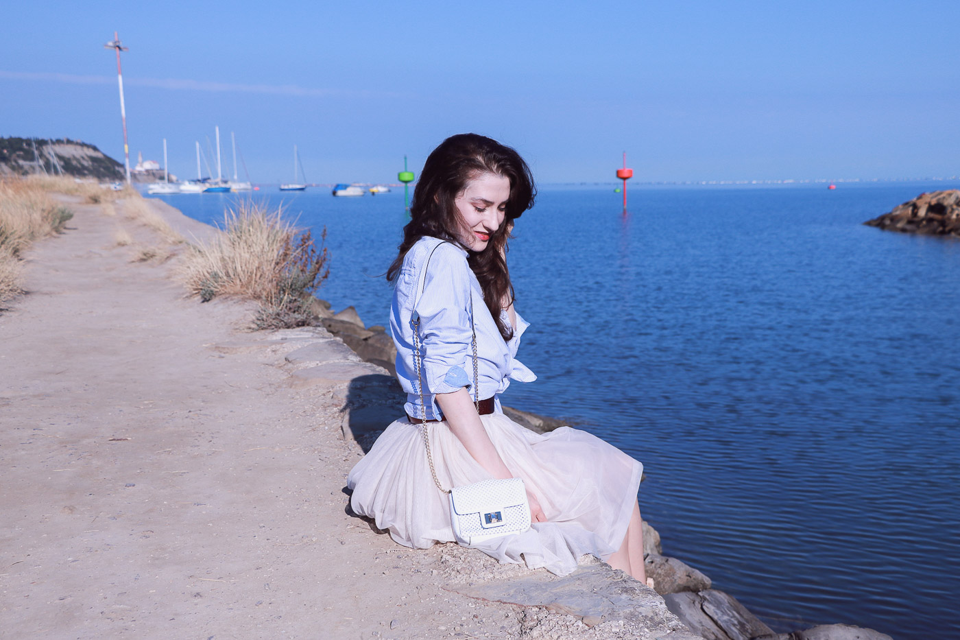 Fashion Blogger Veronika Lipar of Brunette from Wall Street on how to wear tulle skirt on the beach