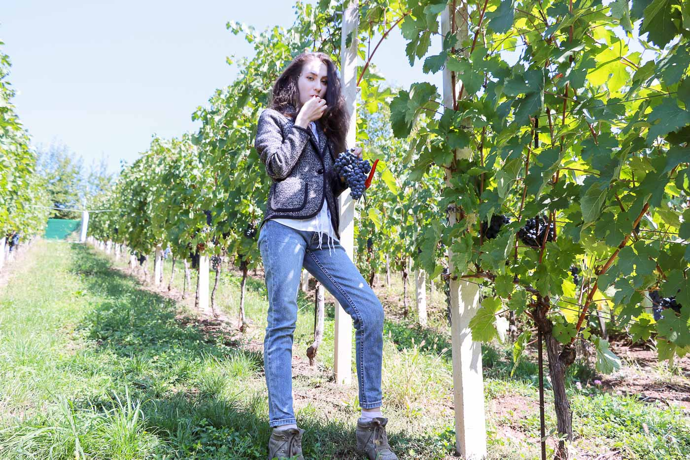 Fashion Blogger Veronika Lipar of Brunette from Wall Street on how to dress for the grape harvest this fall