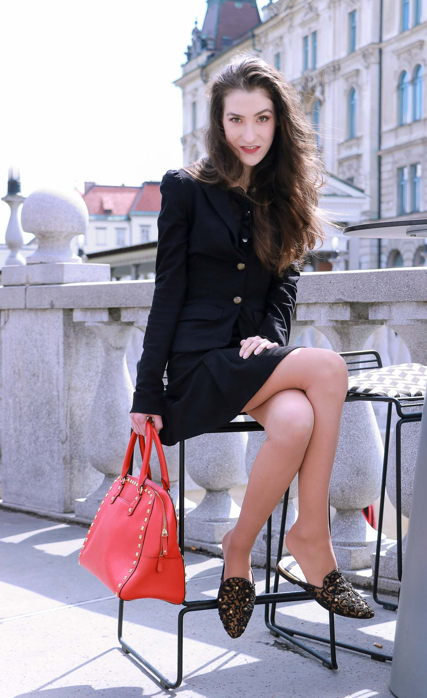 Fashion Blogger Veronika Lipar of Brunette from Wall Street brunching with her girl friends in the town dressed in a chic black skirt suit