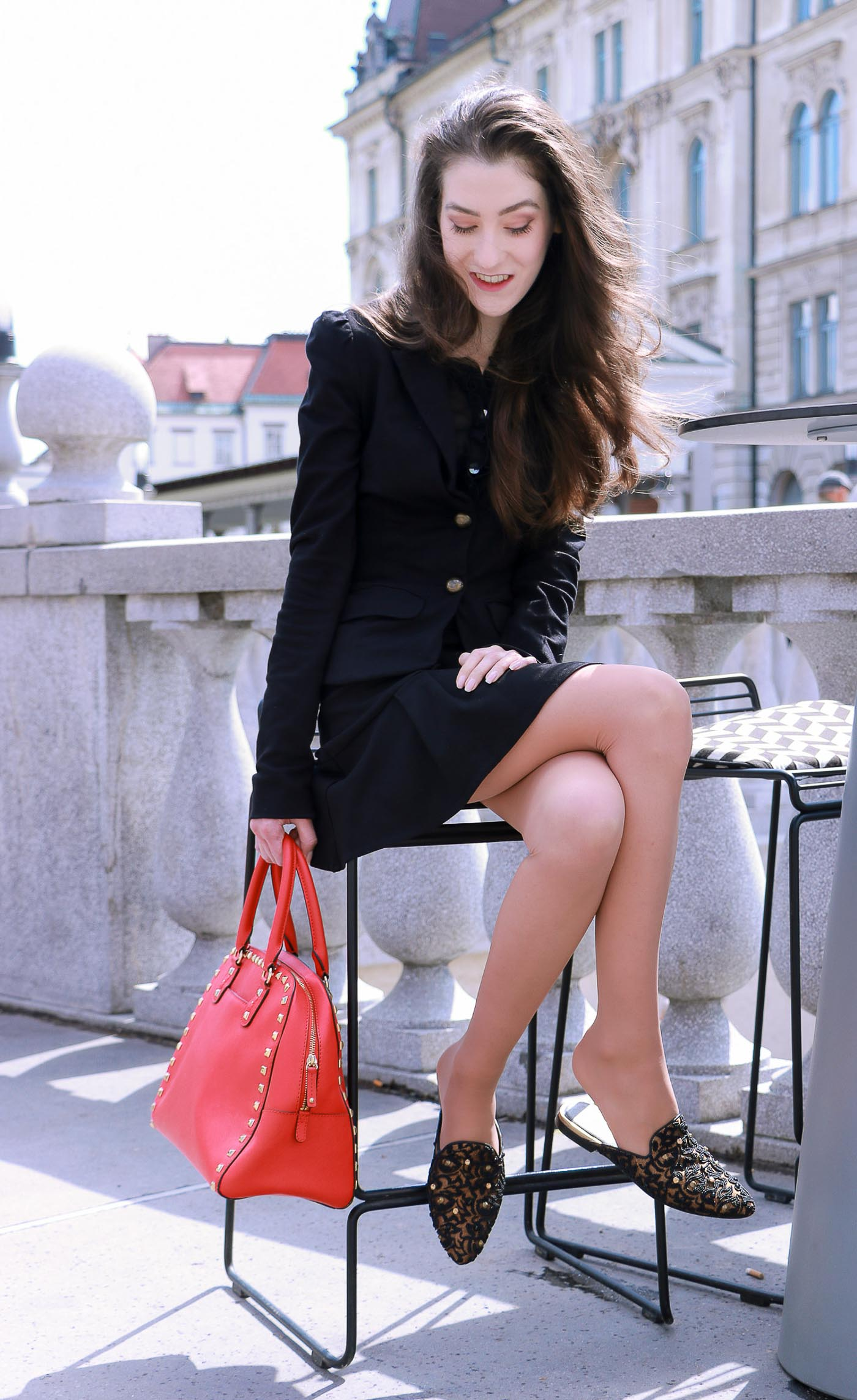 Fashion Blogger Veronika Lipar of Brunette from Wall Street wearing skirt suit to the brunch date with her girl friends this fall