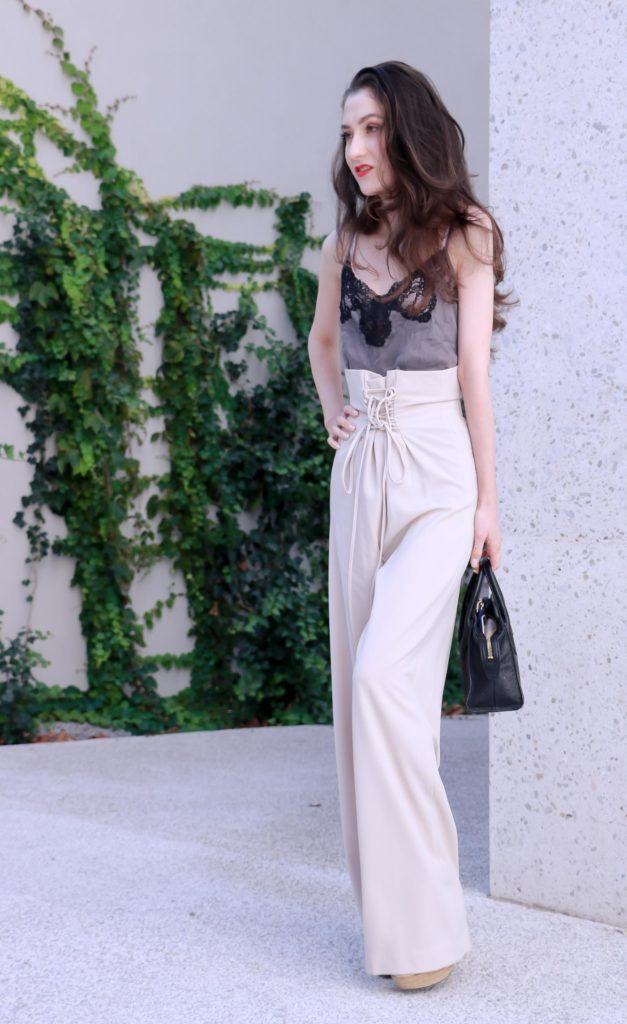 Fashion Blogger Veronika Lipar of Brunette from Wall Street sharing how to wear paper bag pants to the office this fall