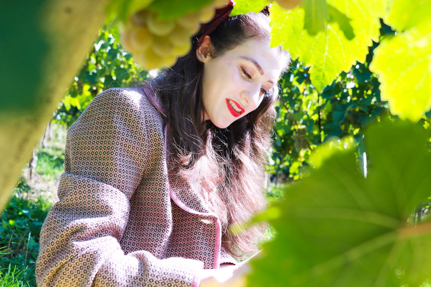red lipstick in vineyard