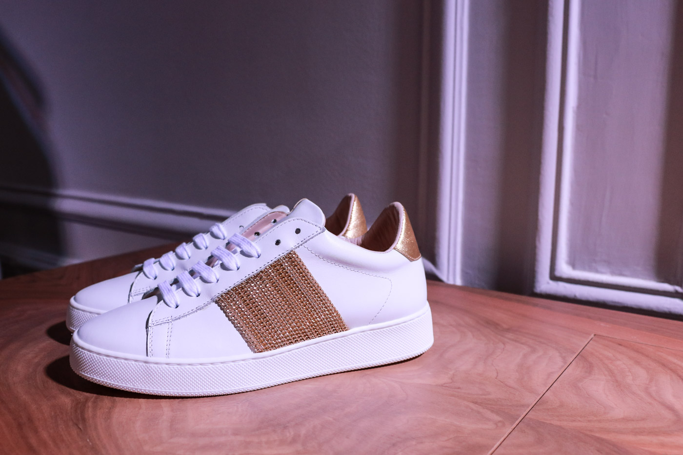 Escada Embellished White Leather Sneakers