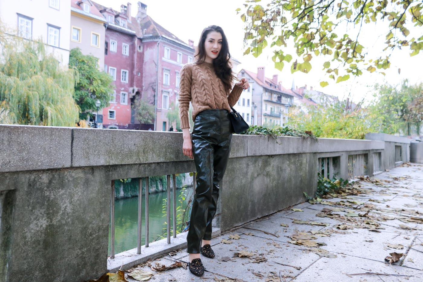 Fashion Blogger Veronika Lipar of Brunette from Wall Street on how to wear high-shine vinyl pants and cashmere and wool cable knit sweater