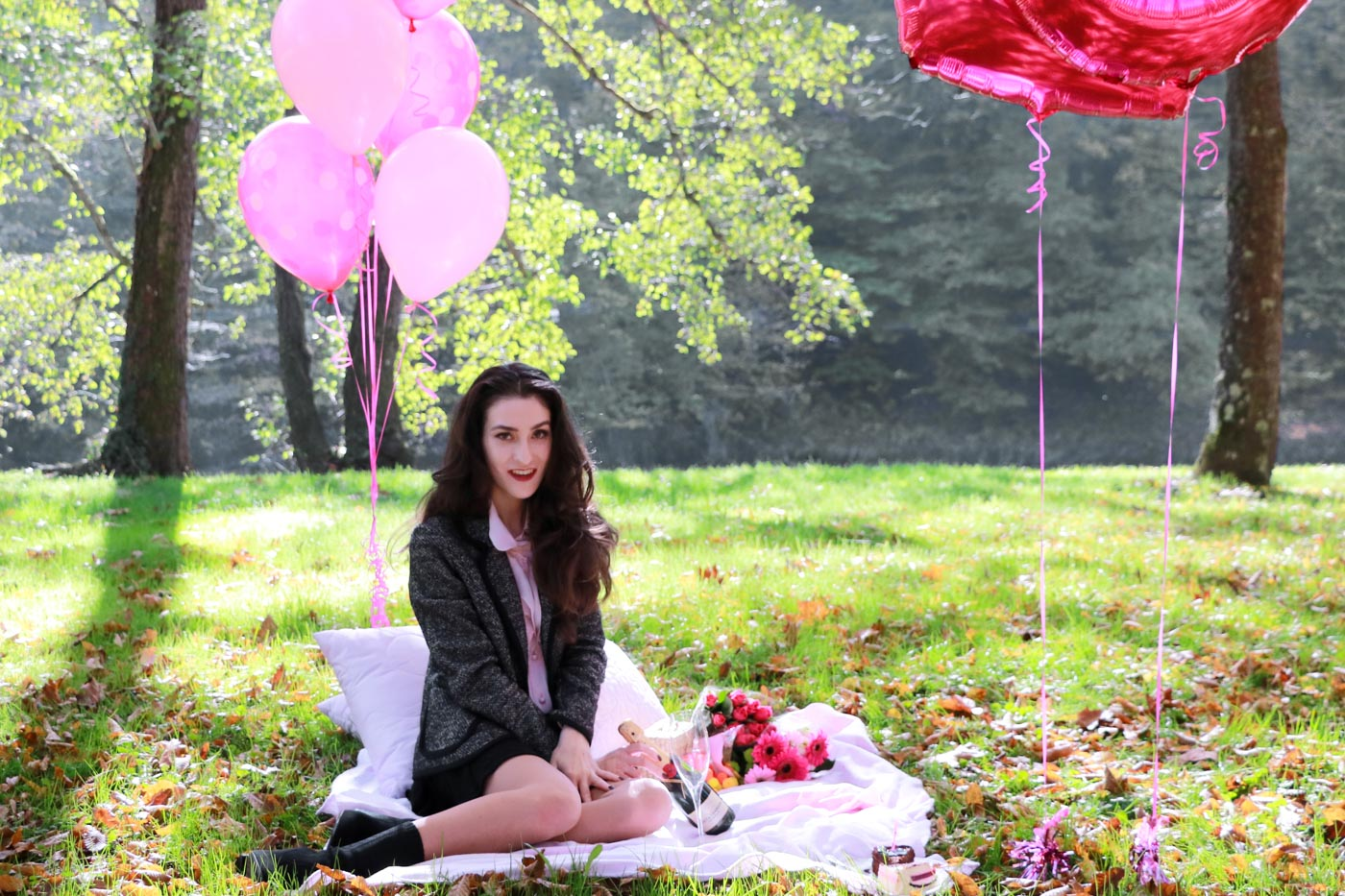 Fashion Blogger Veronika Lipar of Brunette from Wall Street having a pink picnic to celebrate her 20-something birthday